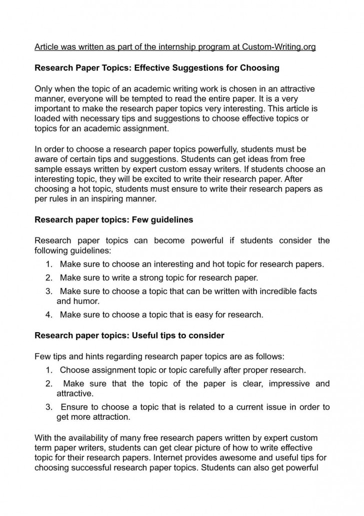 019 Research Paper Topics For Awful In Psychology Good College Papers 728