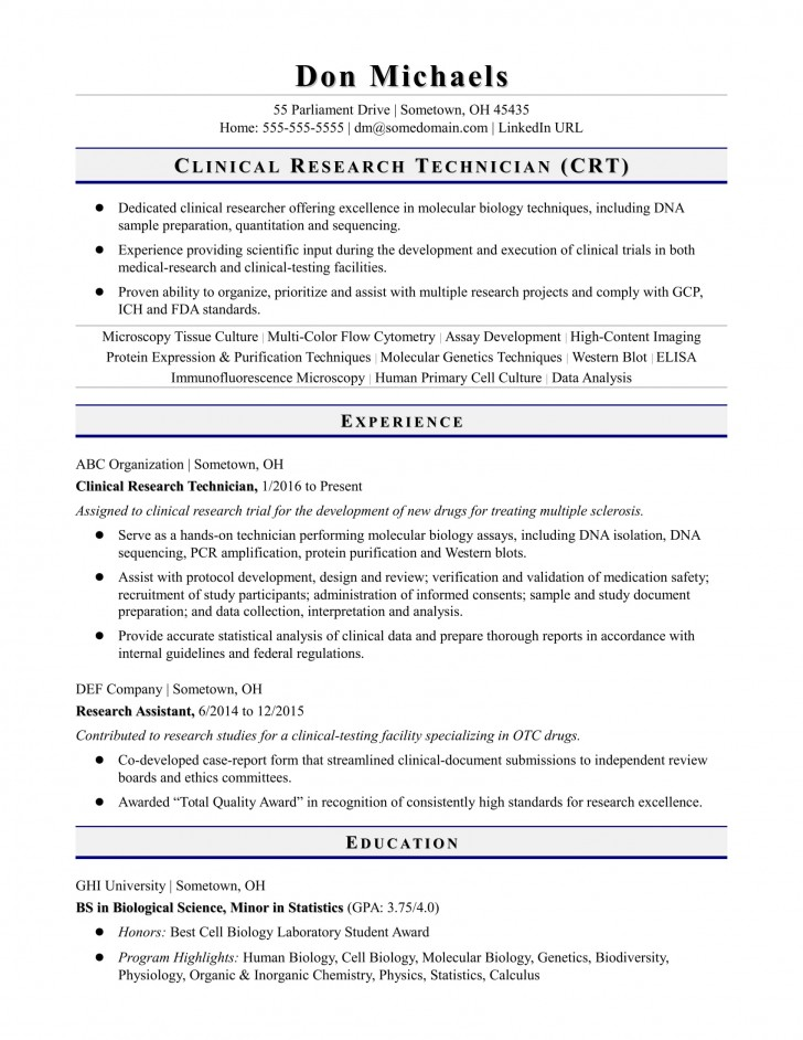 019 Research Technician Entry Level Biology Paper Remarkable Sample Format Example 728
