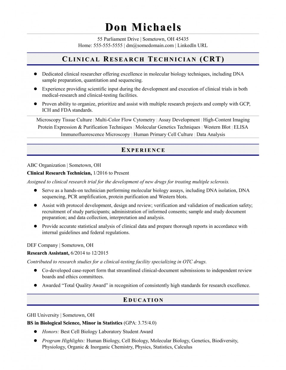 019 Research Technician Entry Level Biology Paper Remarkable Sample Format Example 960