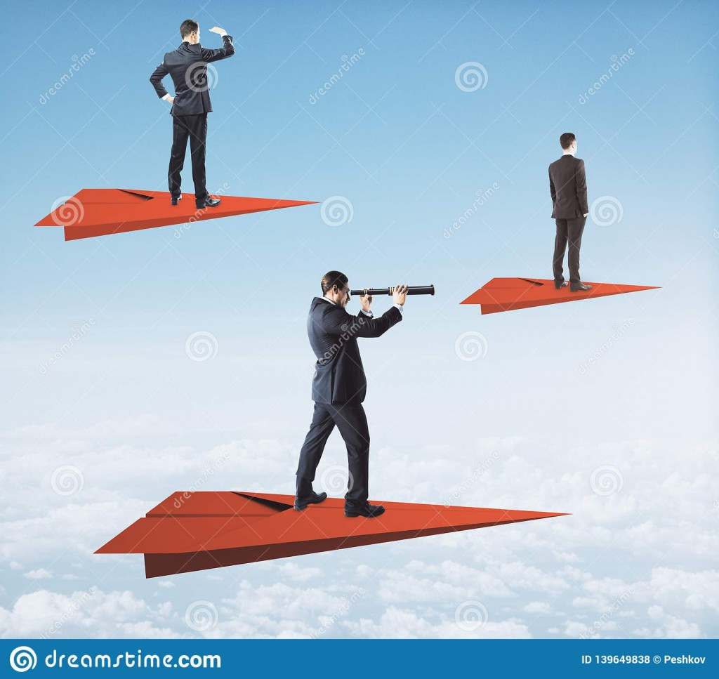 020 Background Research Paper Airplanes Vision Concept Businessmen Red Planes Looking Distance Telescopes Sky Awesome Large