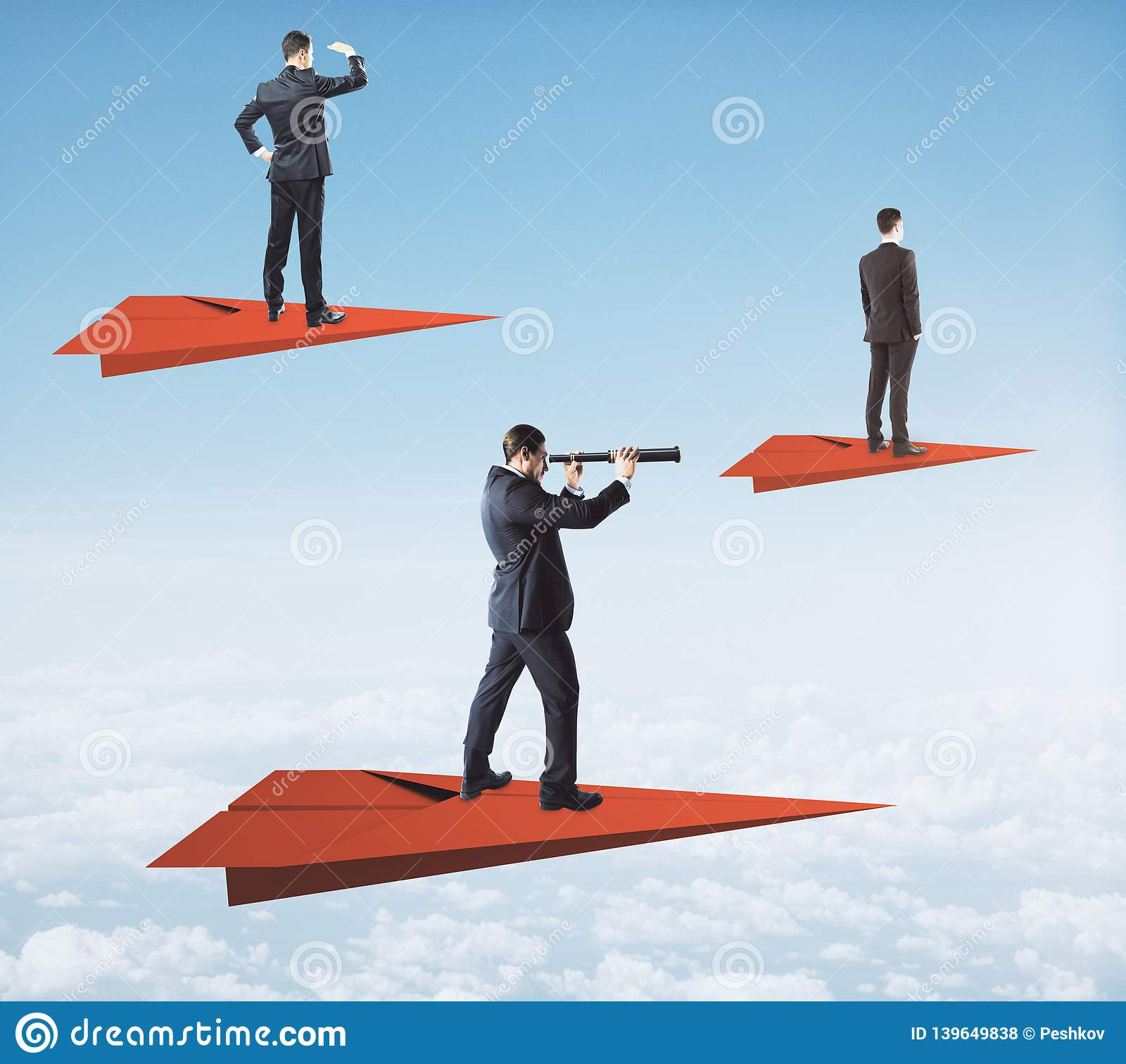 020 Background Research Paper Airplanes Vision Concept Businessmen Red Planes Looking Distance Telescopes Sky Awesome Full