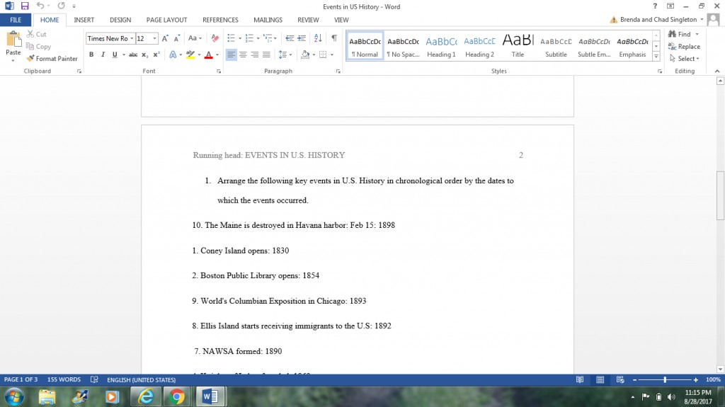 020 Chronological Order Of Research Awesome A Paper Large