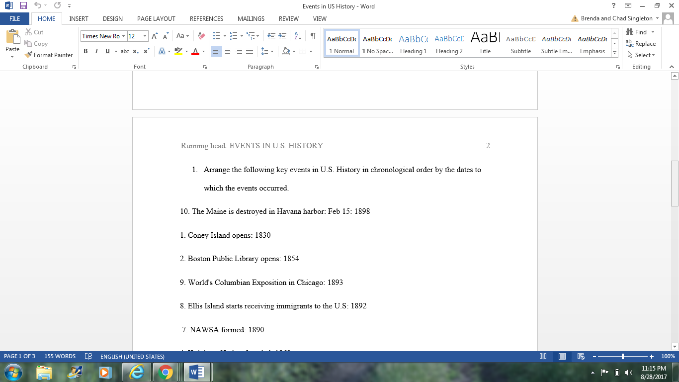 020 Chronological Order Of Research Awesome A Paper Full