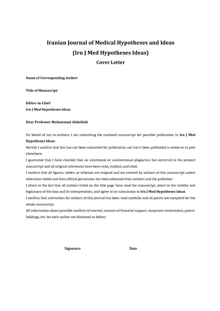007 Cover Letter For Article Publication Journal Submission Example