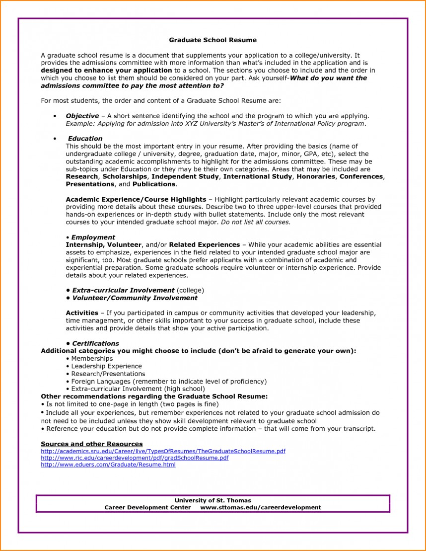 020 Graduate School Resume Objective Research Paper Career Example Amazing Pdf