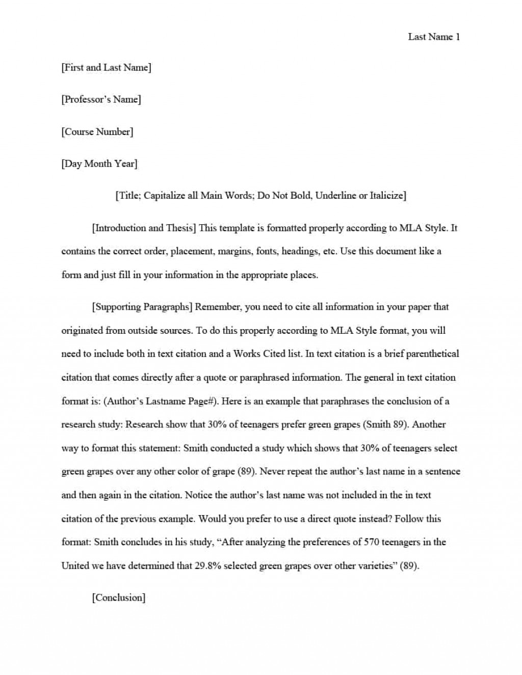 020 Mla Format Template Research Paper In Text Wonderful Citations Large