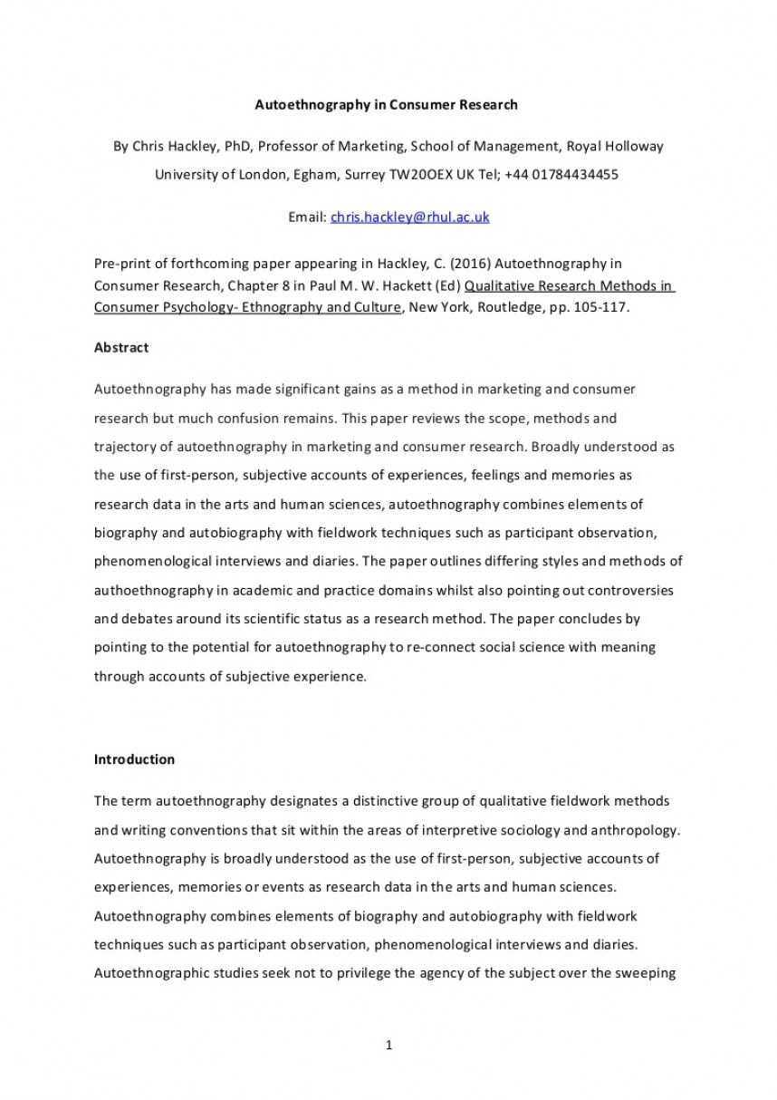 020 Research Paper Autoethnographychapterpaulhackett Done Lva1 App6892 Thumbnail Are Papers Written In First Impressive Person The Is Voice Proposals