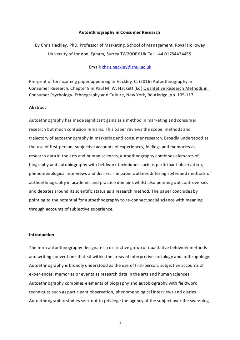 020 Research Paper Autoethnographychapterpaulhackett Done Lva1 App6892 Thumbnail Are Papers Written In First Impressive Person Proposals Full