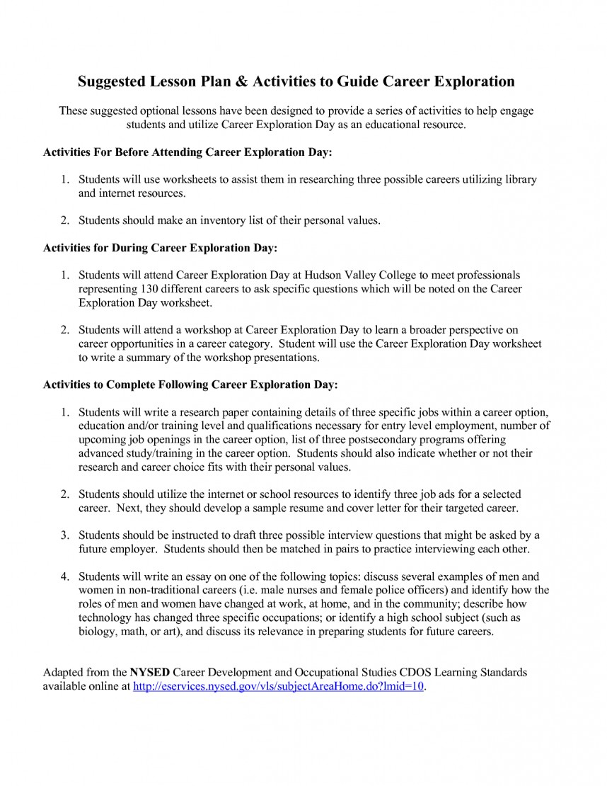 020 Research Paper Career Exploration Example Worksheets 100489 Unique
