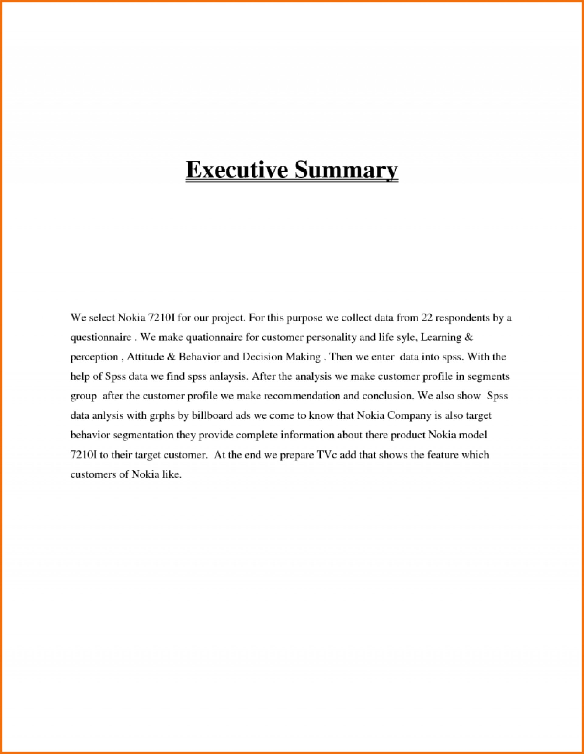 020 Research Paper Executive Summary Example Format Unforgettable 1920