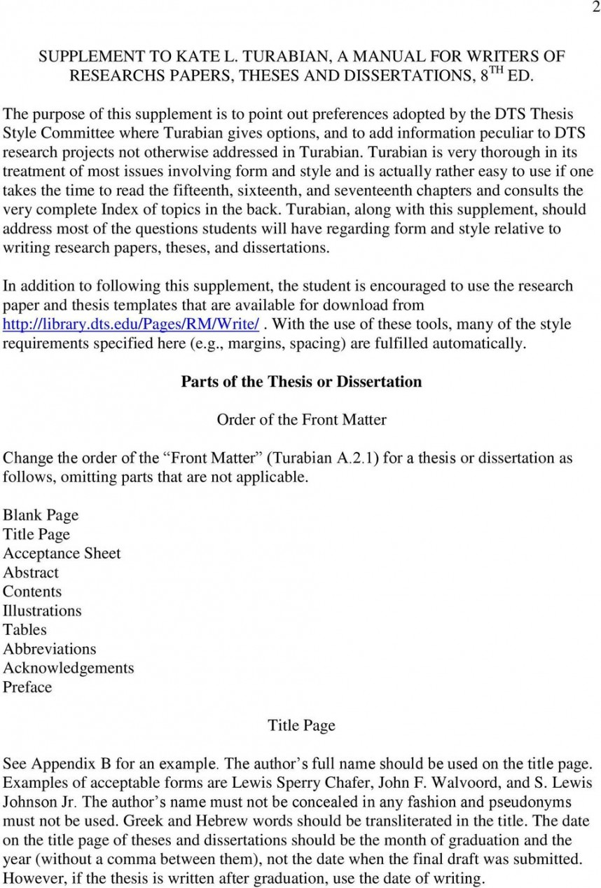 020 Research Paper Page 2 Manual For Writers Of Papers Theses And Dissertations 8th Staggering A Edition Pdf