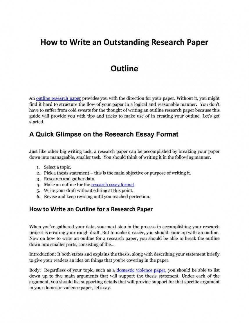 020 Write Outline Research Paper Page 1 Exceptional Sample Thesis Making Writing A Good