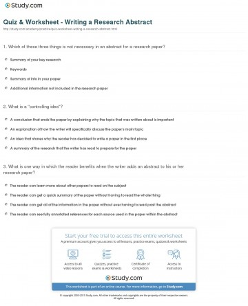 021 Quiz Worksheet Writing Research Abstract Paper Archaicawful Idea Ideas For Middle School History High Biology 360