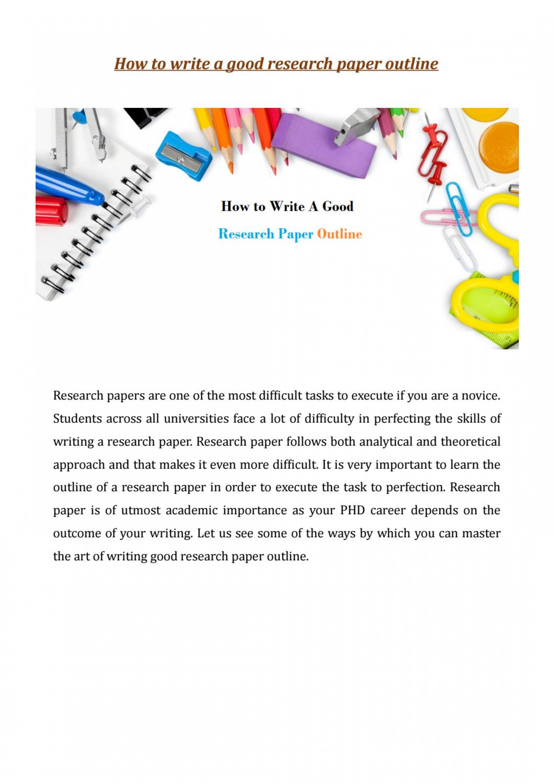 021 Research Paper Page 1 How Write Outstanding Outline To An For A Mla Ppt College 1920