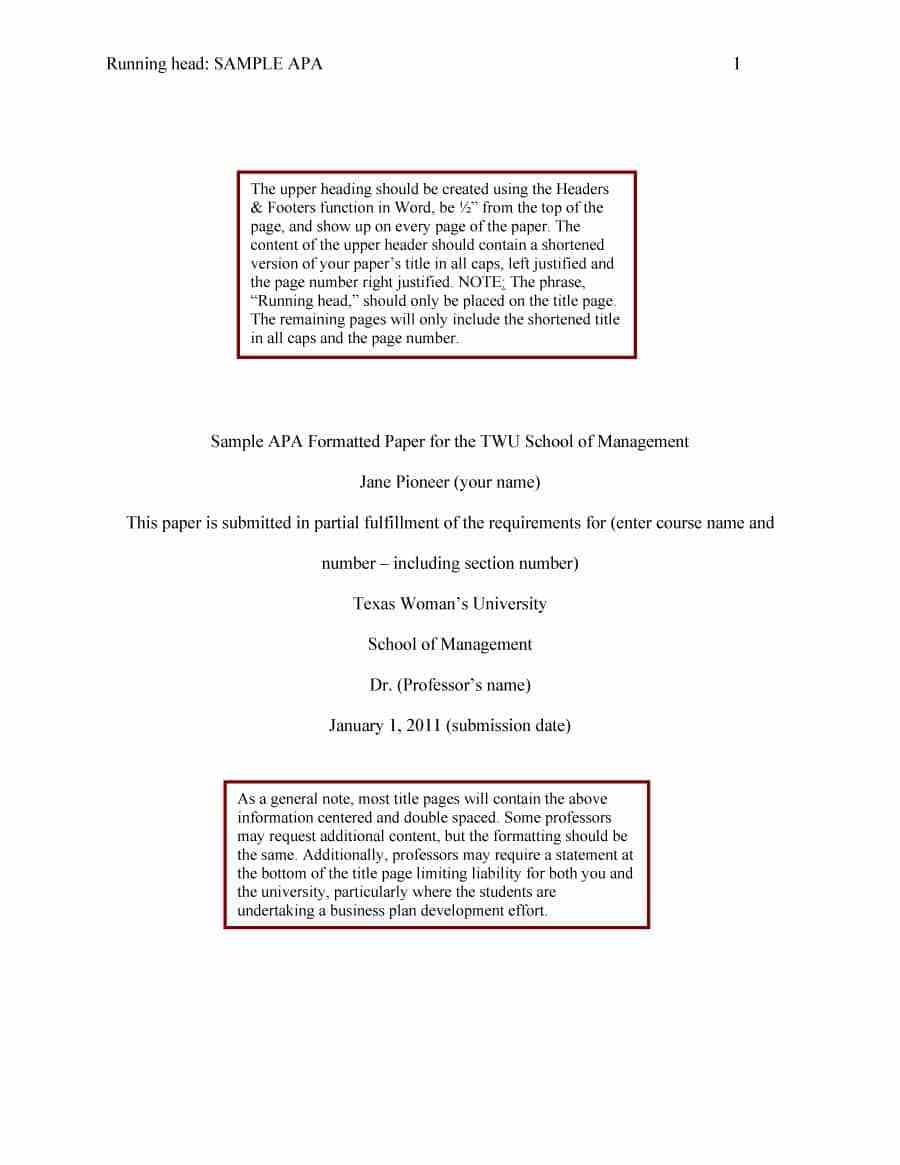 021 Research Paper Sample Apa Format Template Wonderful Free Psychology Full