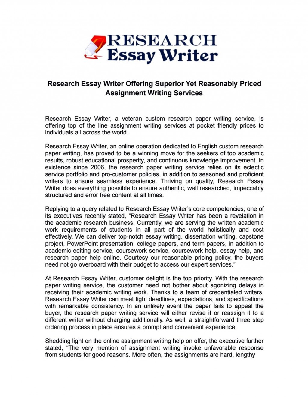 021 Research Paper Writer Services Page 1 Phenomenal Large