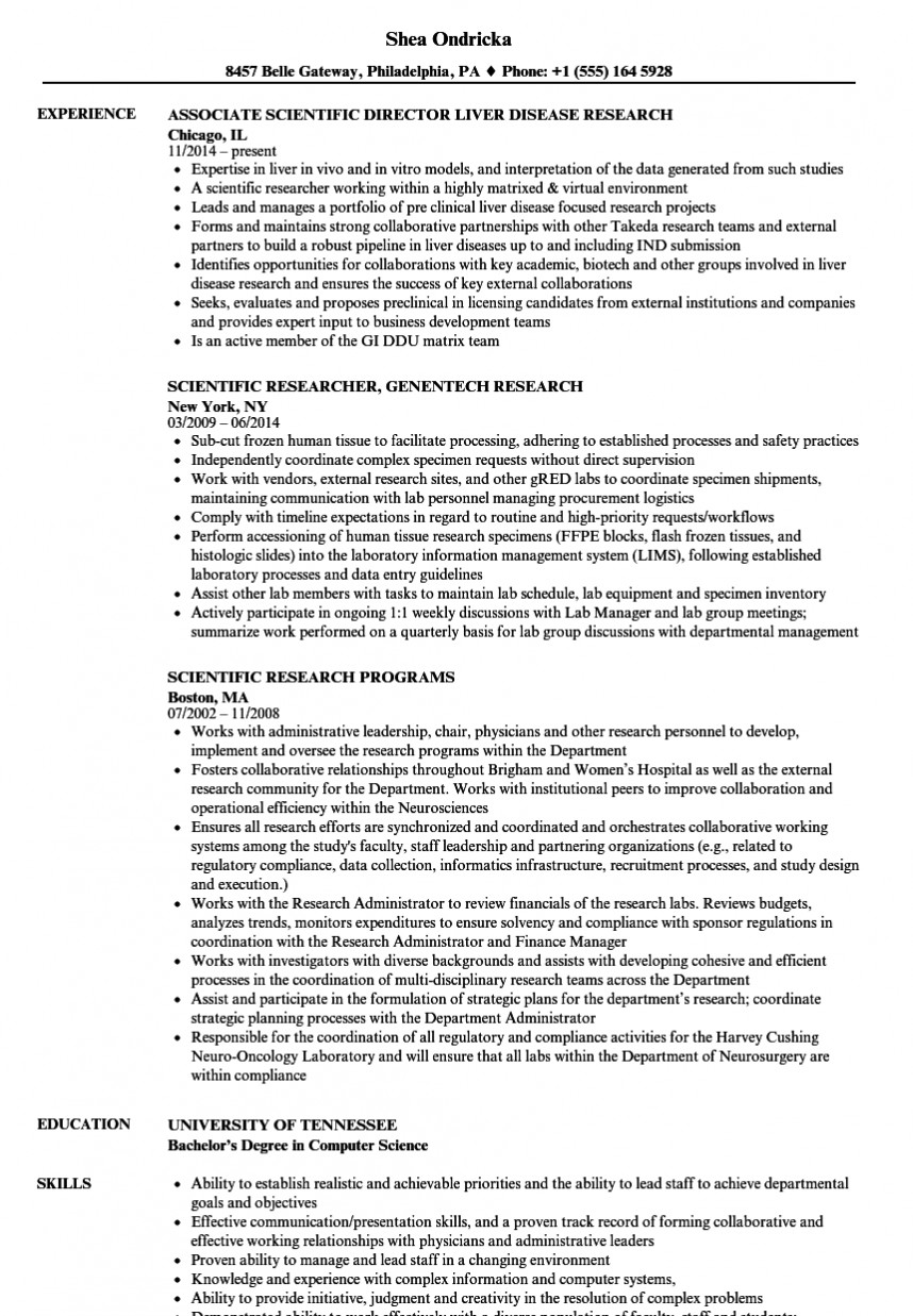 021 Scientific Research Resume Sample Paper Computer Magnificent Science Example
