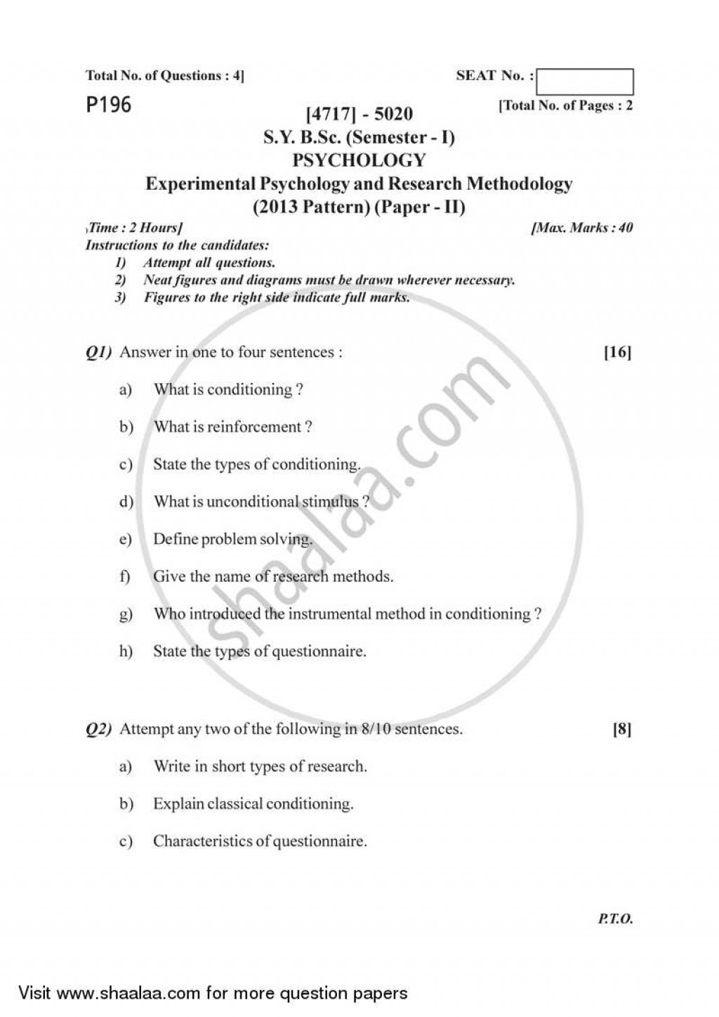 021 University Of Pune Bachelor Bsc Experimental Psychology Research Methodology Semester Sybsc Pattern 2e41c64dd7a97493da58d01b3ff66032b Paper Papers Outstanding In Recent Latest On Topics Cognitive Large