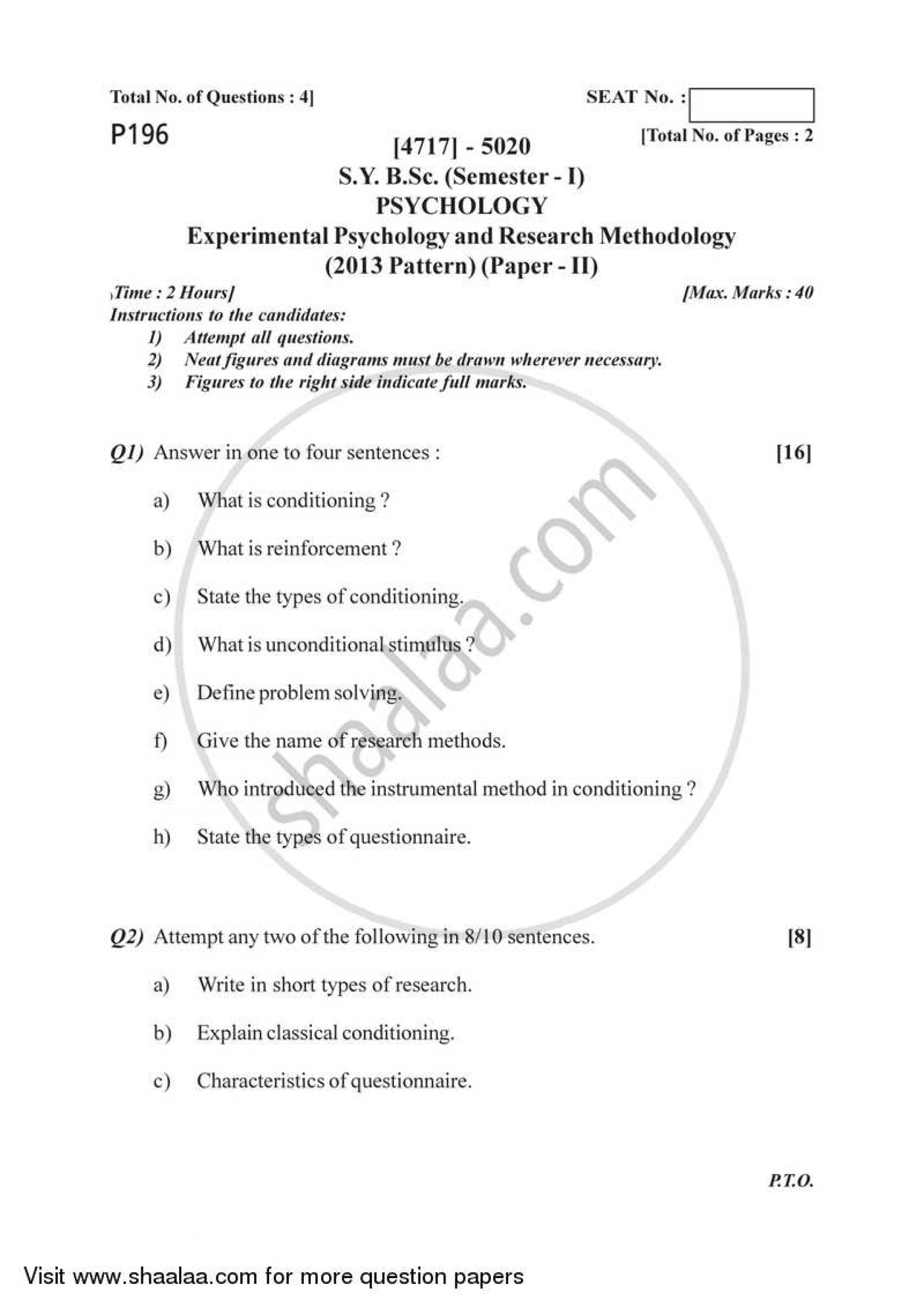 021 University Of Pune Bachelor Bsc Experimental Psychology Research Methodology Semester Sybsc Pattern 2e41c64dd7a97493da58d01b3ff66032b Paper Papers Outstanding In Recent Latest On Topics Cognitive 1920