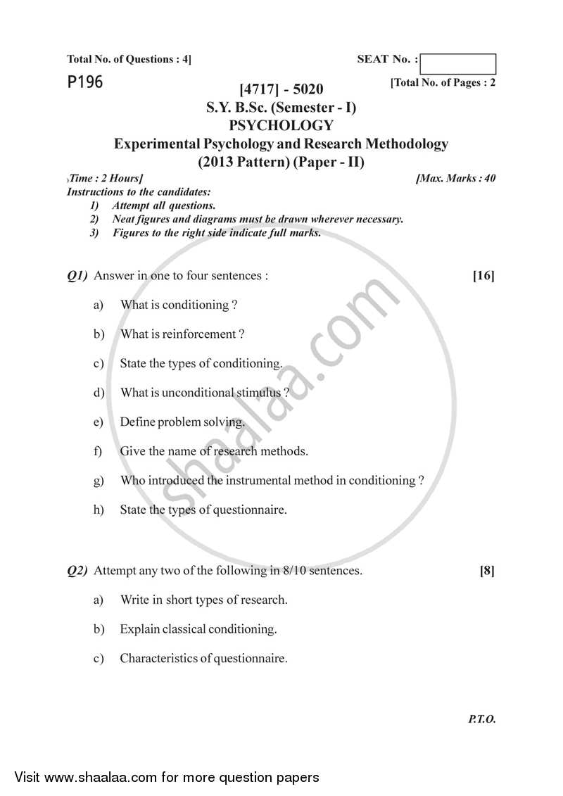 021 University Of Pune Bachelor Bsc Experimental Psychology Research Methodology Semester Sybsc Pattern 2e41c64dd7a97493da58d01b3ff66032b Paper Papers Outstanding In Recent Latest On Topics Cognitive Full
