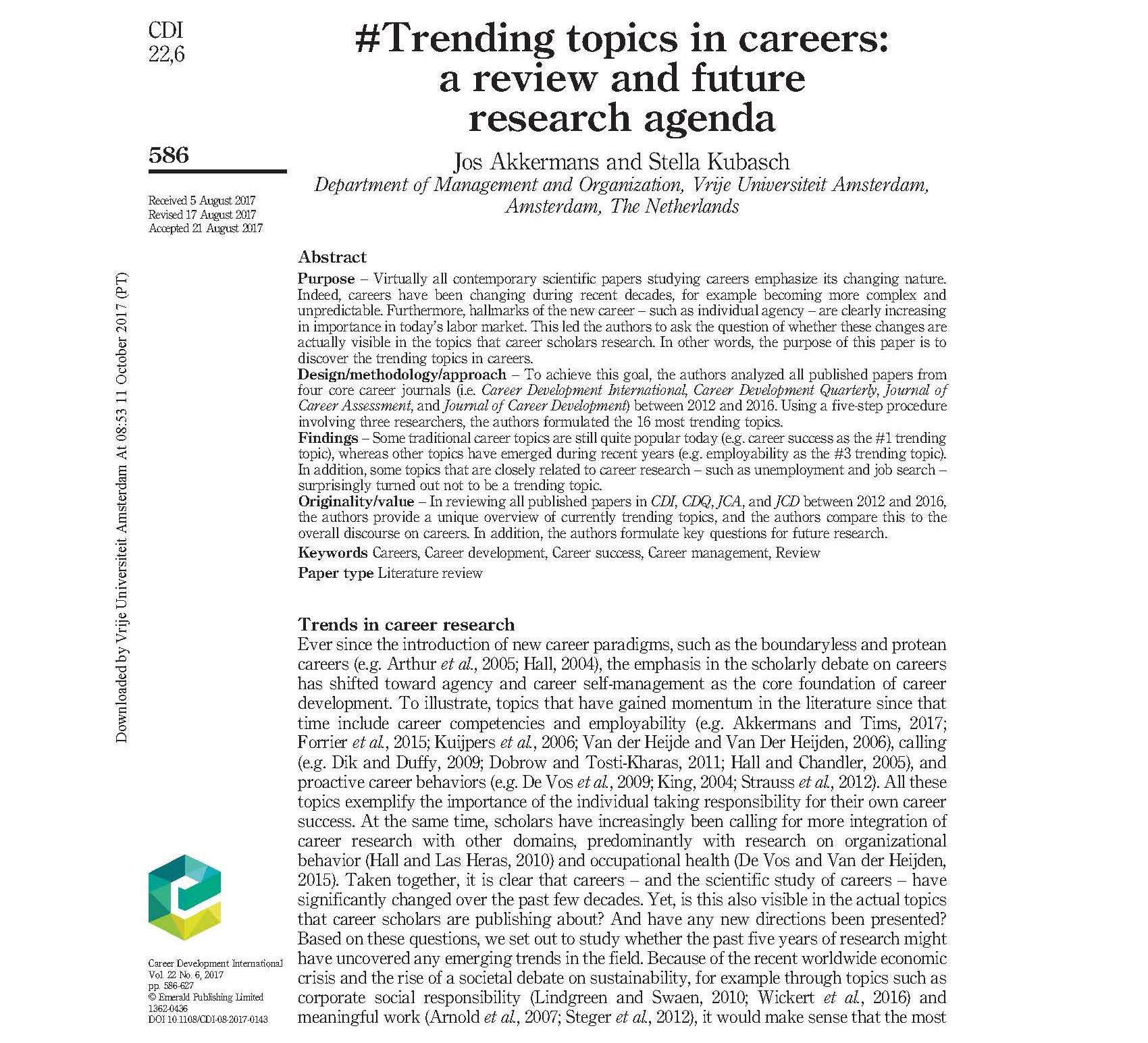 022 59e096d33a29650001209782 1620 20akkermans202620kubasch20201720 20trending20topics20in20careers Research Paper Topics For Impressive Papers In Educational Management Psychology High School Students College Full