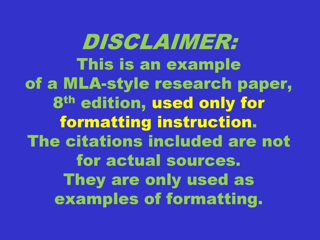 022 Disclaimer3athisisanexampleofamla Styleresearchpaper2c8thedition2cusedonlyforformattinginstruction Research Paper Mla Formatting Wondrous Instructions Large
