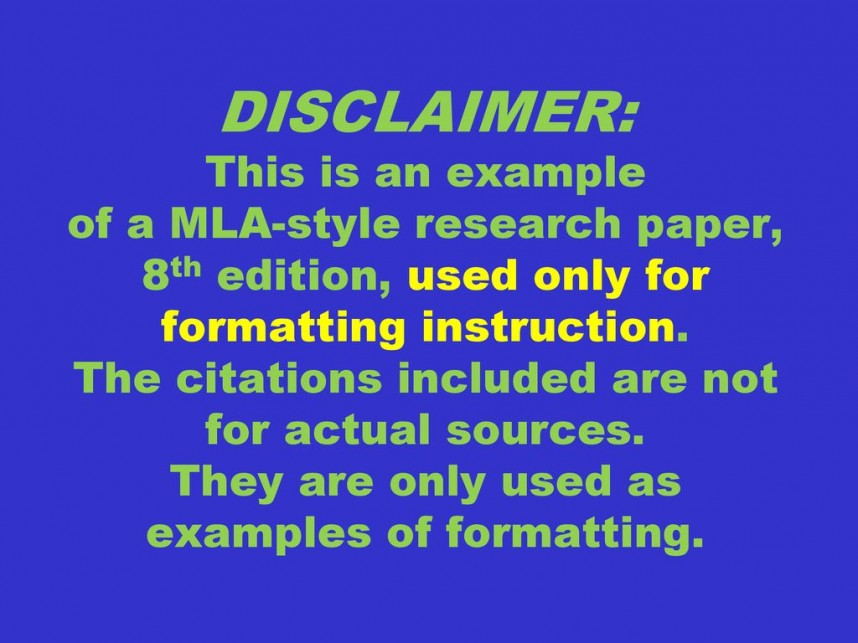 022 Disclaimer3athisisanexampleofamla Styleresearchpaper2c8thedition2cusedonlyforformattinginstruction Research Paper Mla Formatting Wondrous Instructions