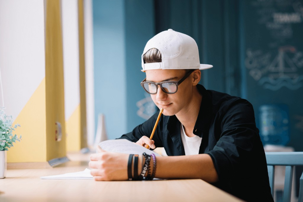 022 Pensive Student Working On Homework Conclusion Help Research Amazing Paper Large