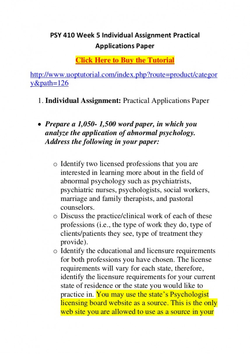 022 Research Paper Abnormal Psychology Topics For Psy410week5individualassignmentpracticalapplicationspaper Phpapp02 Thumbnail Unique