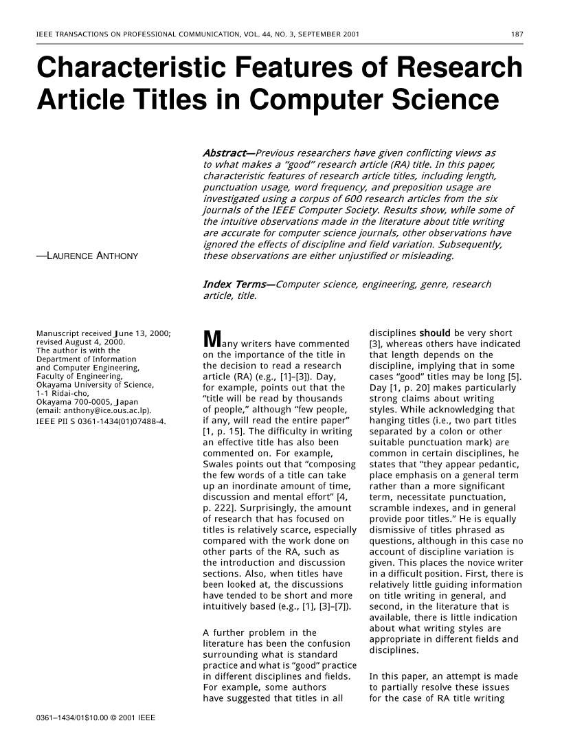 Research paper in computer