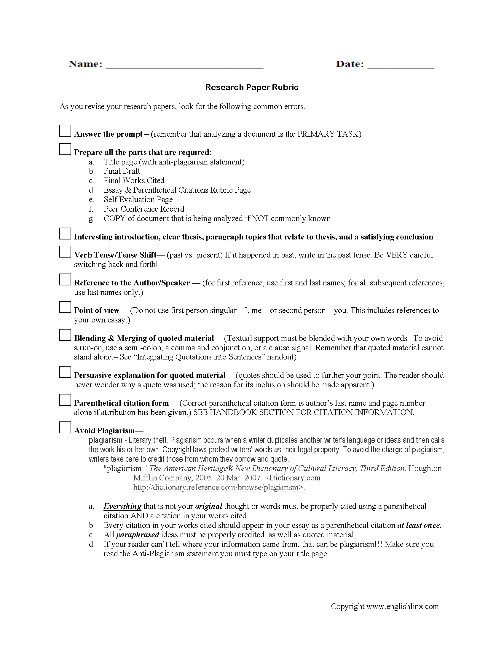 022 Research Paper Rubric College Stirring History Full