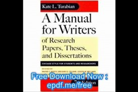 022 X1080 O7l Manual For Writers Of Researchs Theses And Dissertations Turabian Amazing A Research Papers Pdf