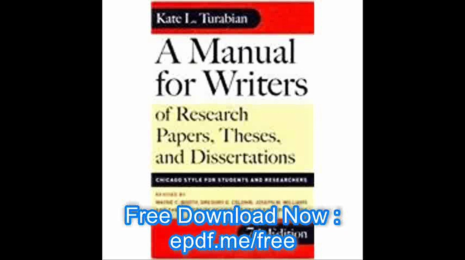 022 X1080 O7l Manual For Writers Of Researchs Theses And Dissertations Turabian Amazing A Research Papers Pdf Full