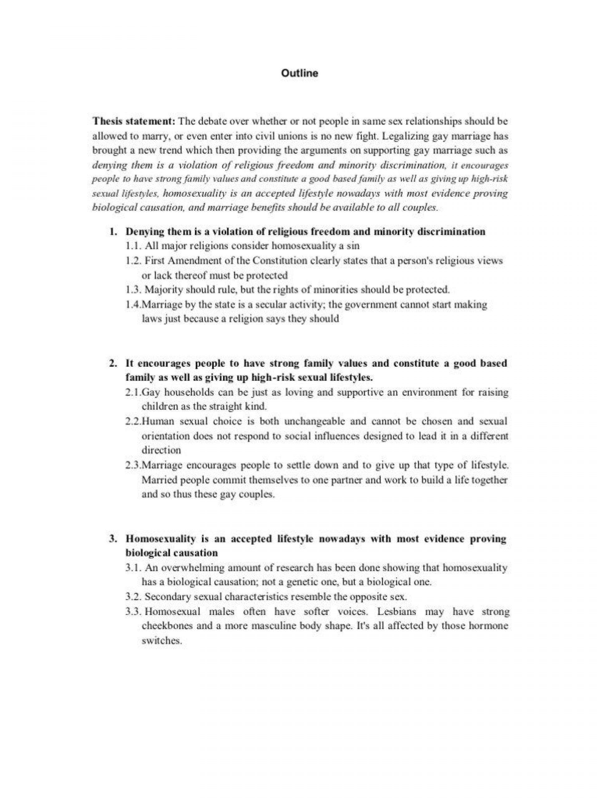 gay marriage research paper outline