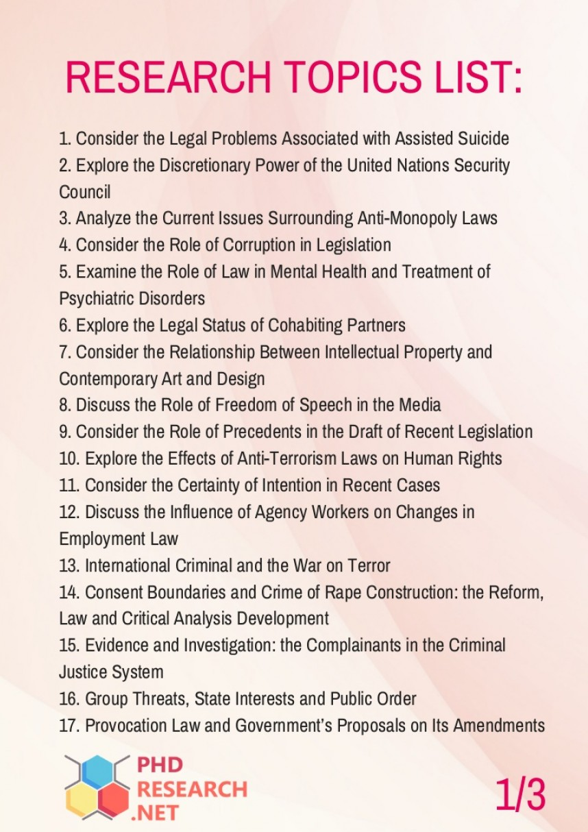 023 Criminal Justice Research Paper Topics For Phd In Law Thumbnail Fearsome 100