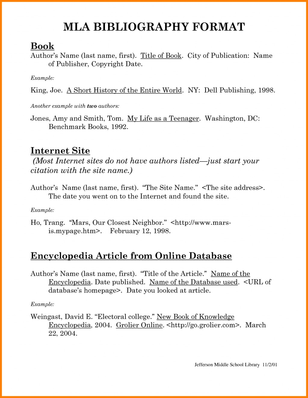 023 How To Do Mla Works Cited For Research Unusual Paper A Page Large