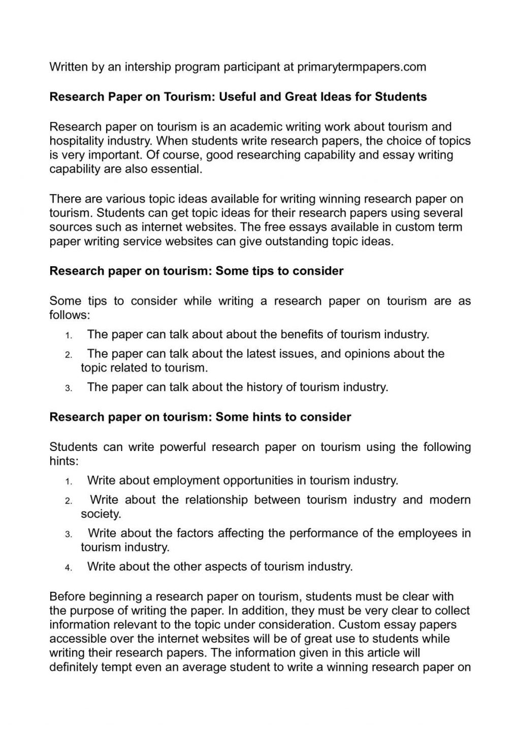 023 Research Paper 20calama20c220a9o On Tourism Useful And Great Ideas For Students Topics To Write About20 1024x1449 Sensational Health Related Public Full