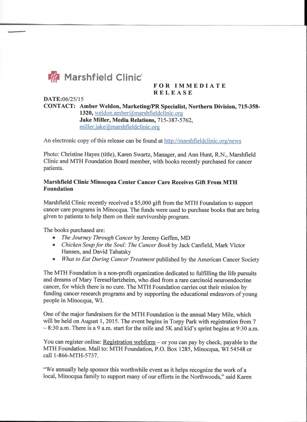 023 Research Paper Mth Marshfield Clinic Press Release Cancer Unique Outline Skin Breast Lung Large
