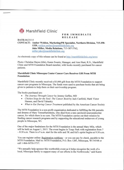 023 Research Paper Mth Marshfield Clinic Press Release Cancer Unique Outline Skin Breast Lung 480