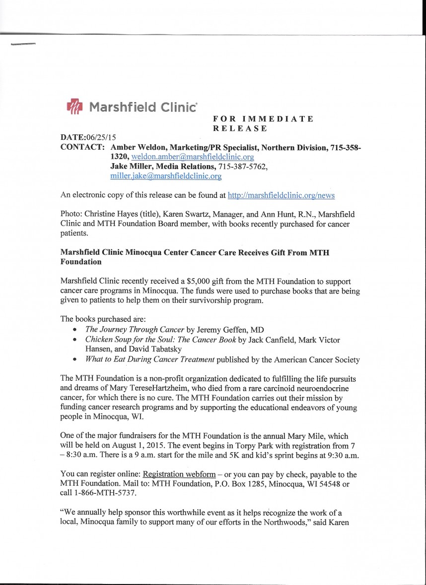 023 Research Paper Mth Marshfield Clinic Press Release Cancer Unique Outline Skin Breast Lung 868