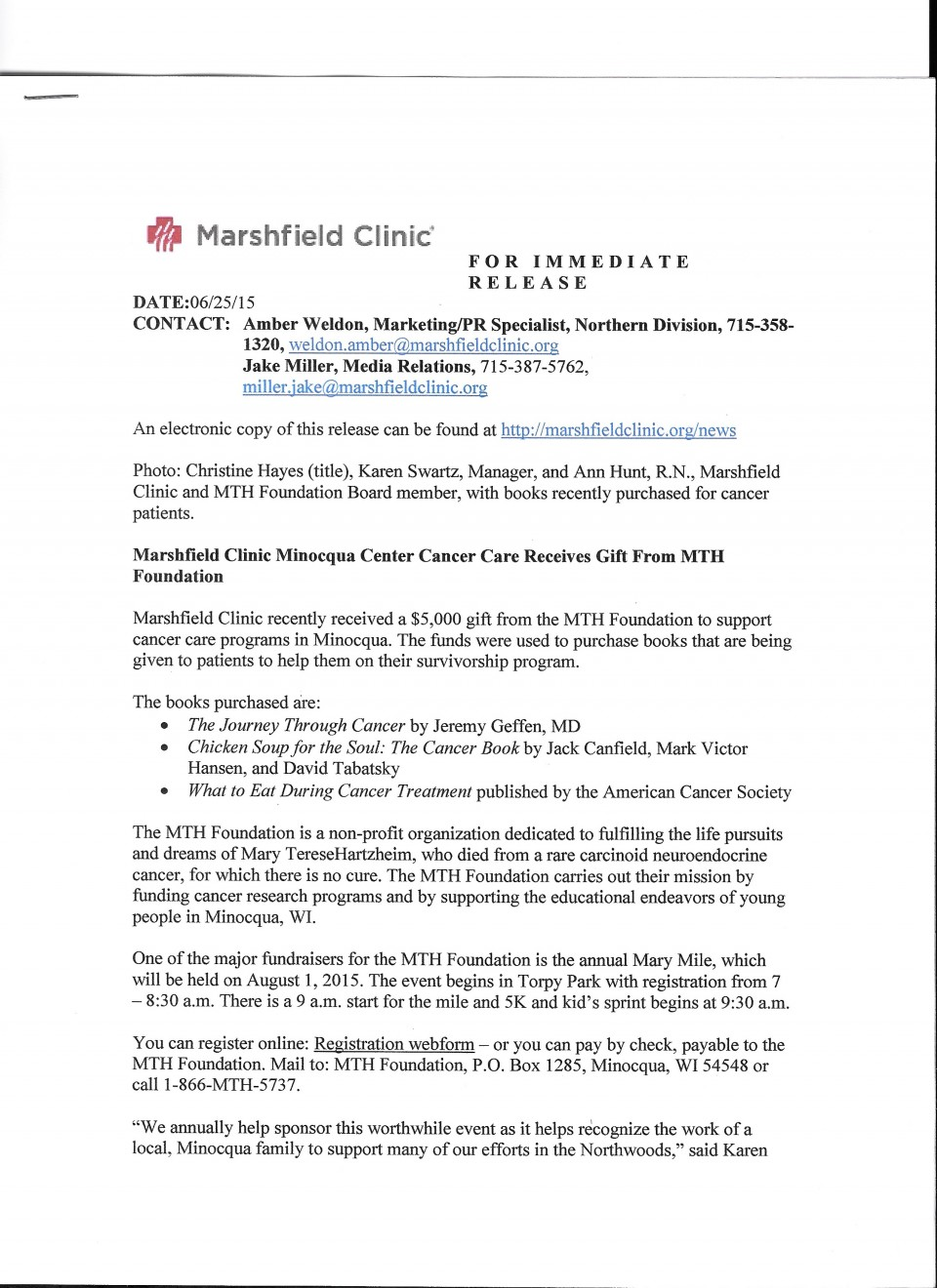 023 Research Paper Mth Marshfield Clinic Press Release Cancer Unique Outline Skin Breast Lung 960