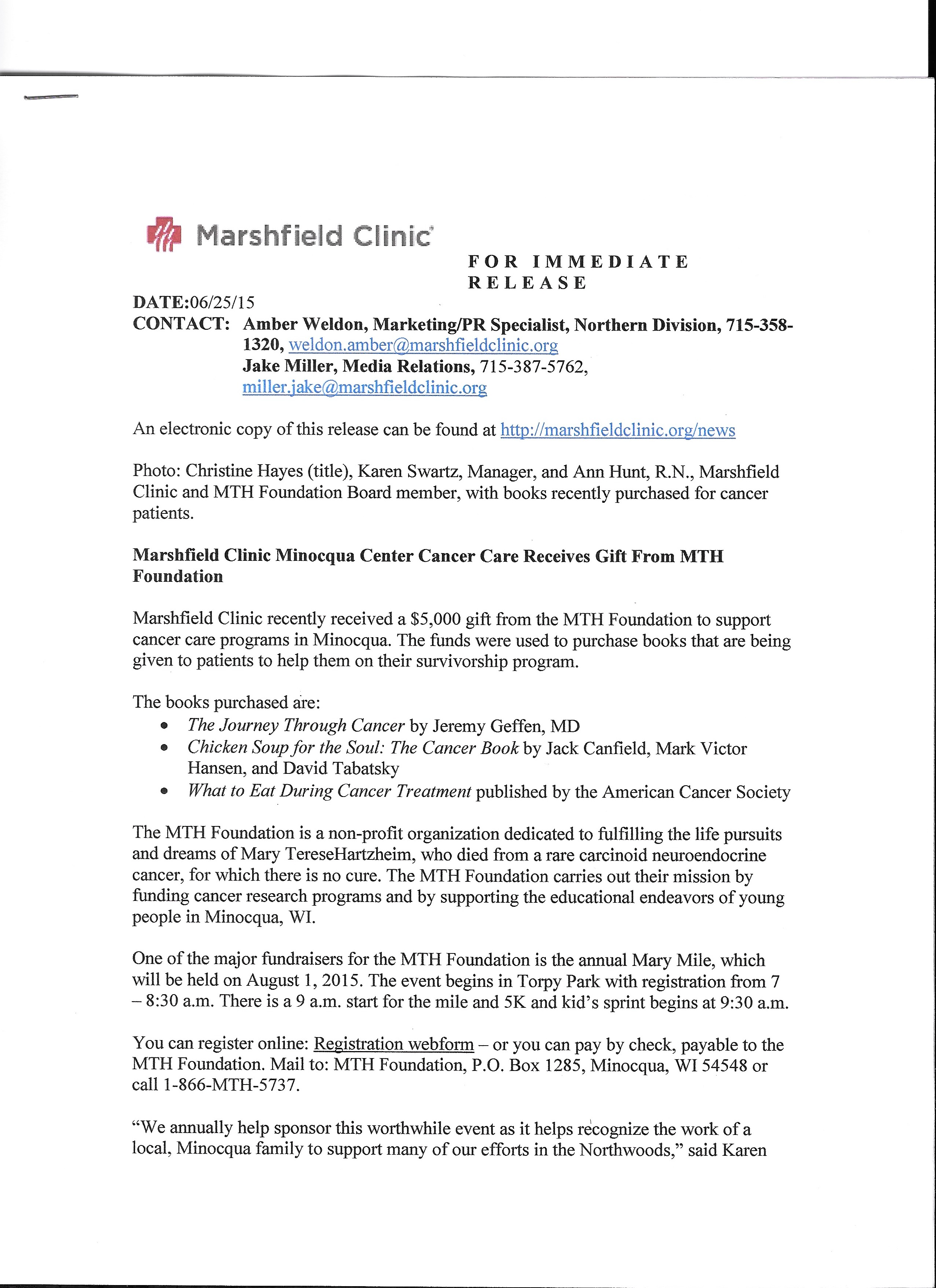 023 Research Paper Mth Marshfield Clinic Press Release Cancer Unique Outline Skin Breast Lung Full
