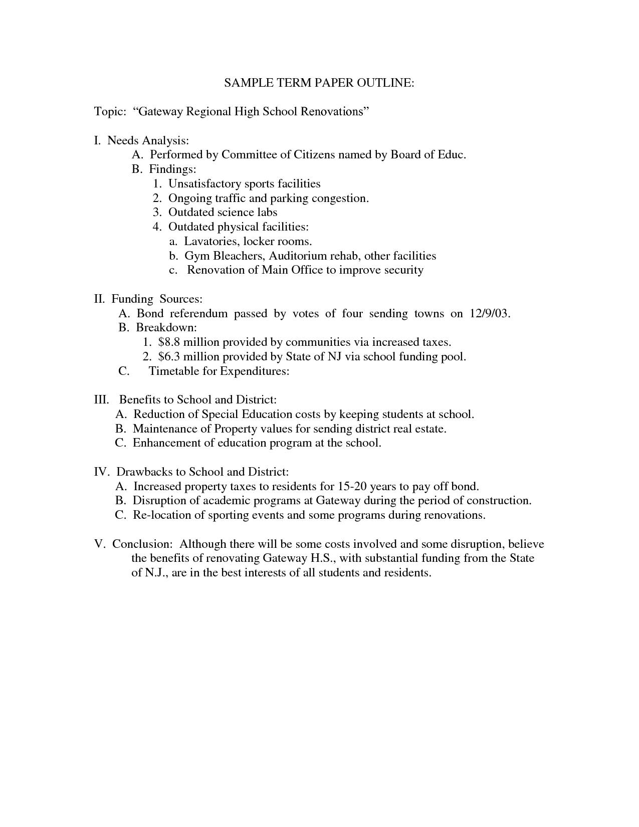 024 Research Paper Sample Term Outline Format 477810 High School Dreaded Template Example Full