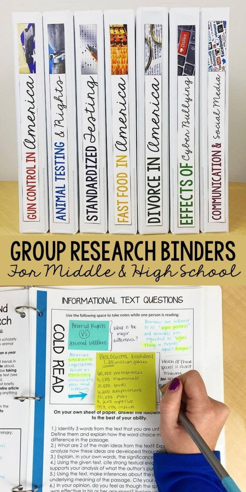 024 Research Paper Writing Binder Teaching Middle School Unusual Ideas Topics Topic Large