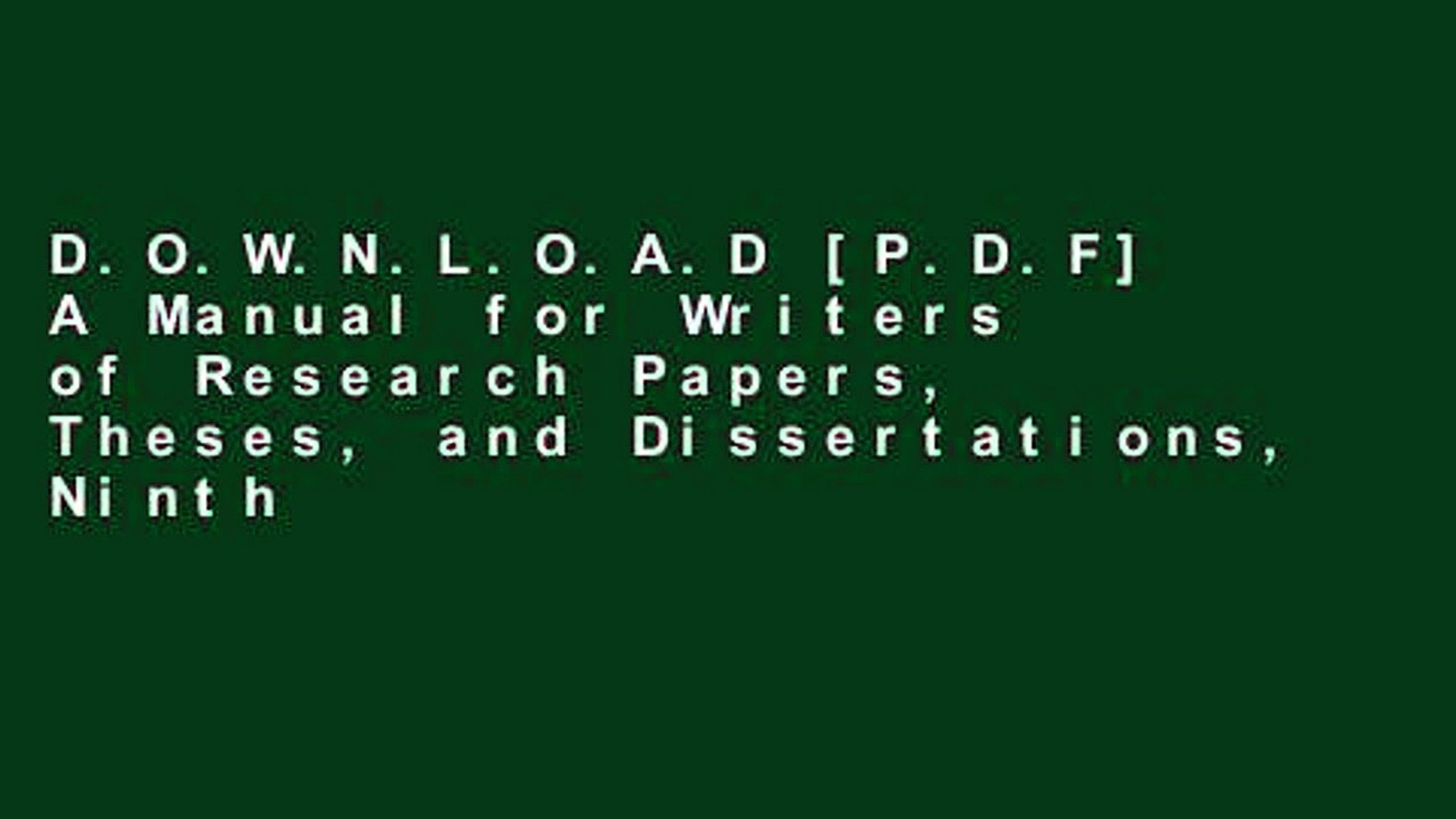 025 Manual For Writers Of Researchs Theses And Dissertations X1080 Cmg Sensational A Research Papers Ed. 8 8th Edition Ninth Pdf