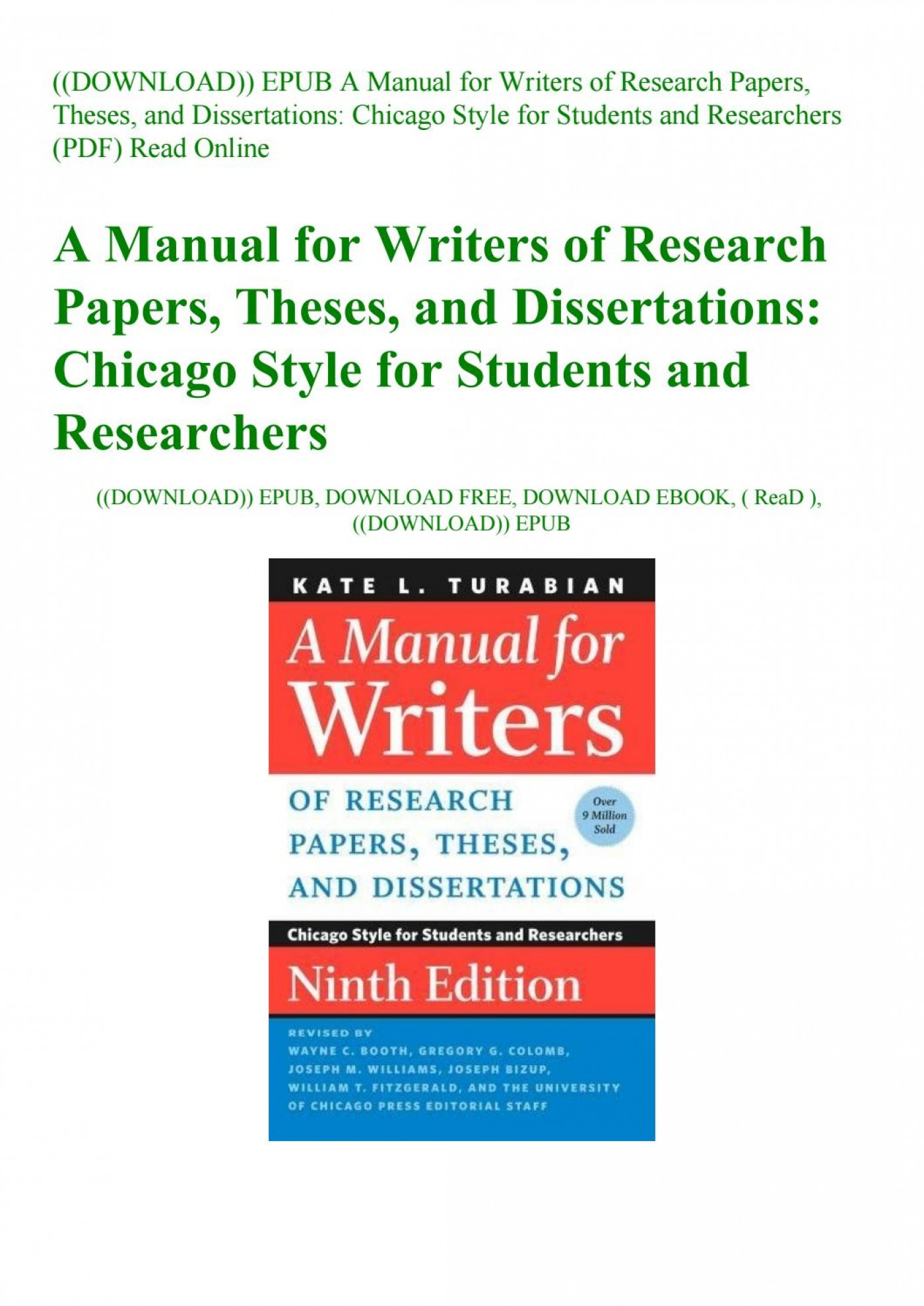 026 Manual For Writers Of Research Papers Theses And Dissertations Turabian Paper Page 1 Amazing A Pdf 1400