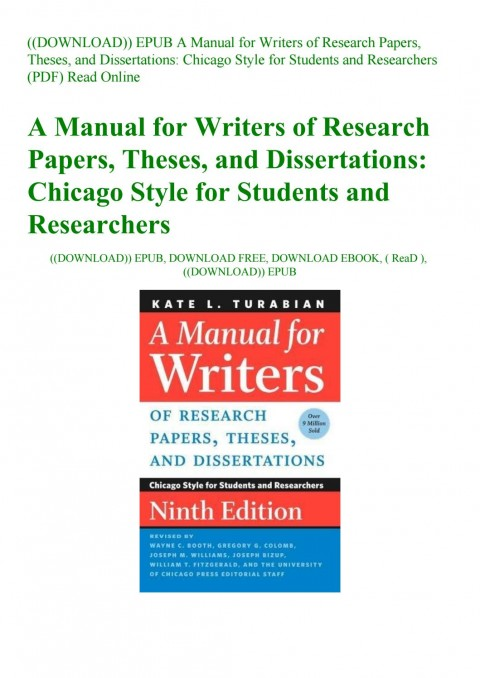 026 Manual For Writers Of Research Papers Theses And Dissertations Turabian Paper Page 1 Amazing A Pdf 480