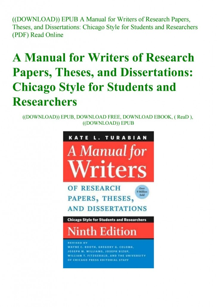 026 Manual For Writers Of Research Papers Theses And Dissertations Turabian Paper Page 1 Amazing A Pdf 728