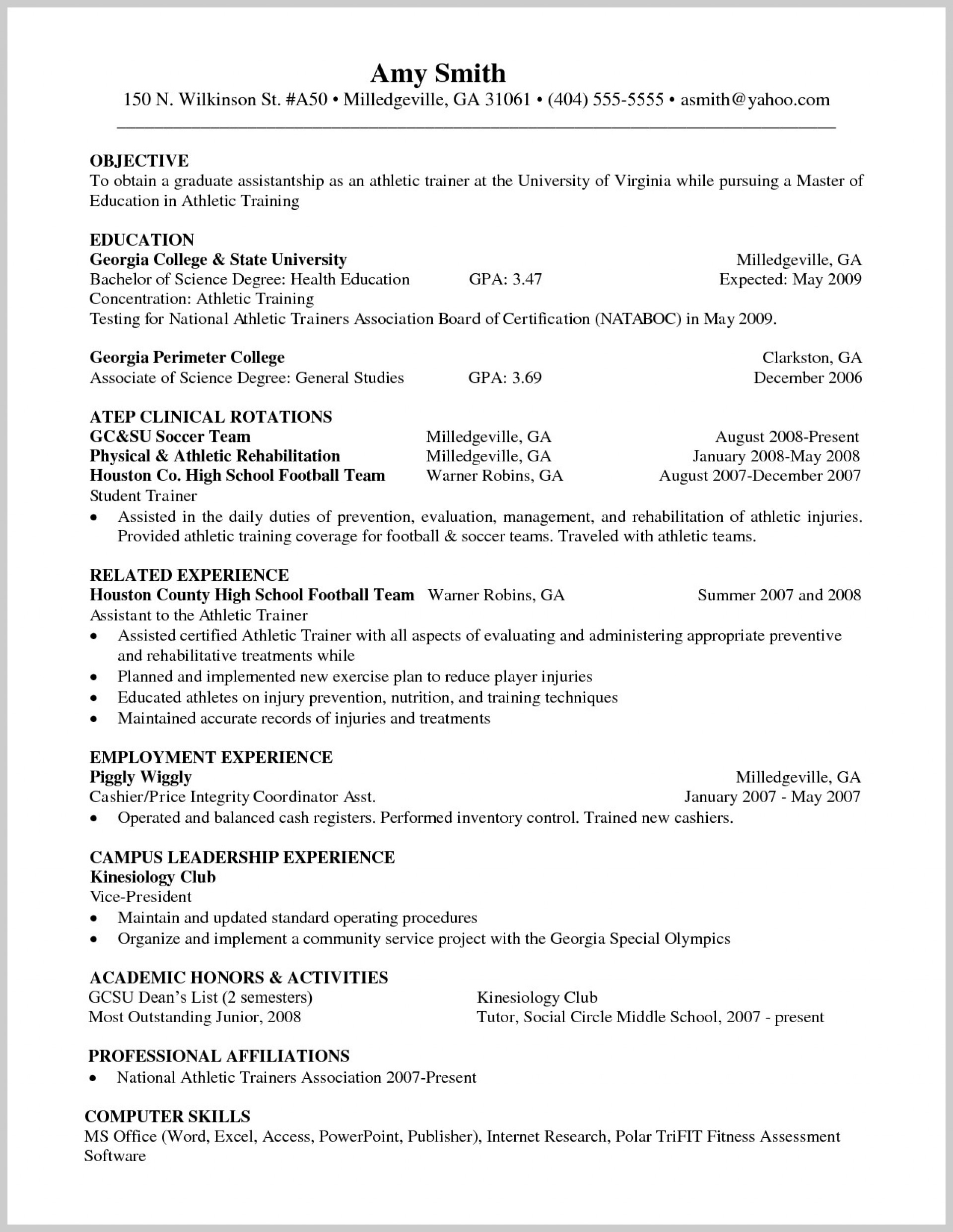 026 Research Paper How To Format College Athletic Trainer Volleyball Resume Cover Letter Sample Sports Staggering A Write In Apa Example Of 1920