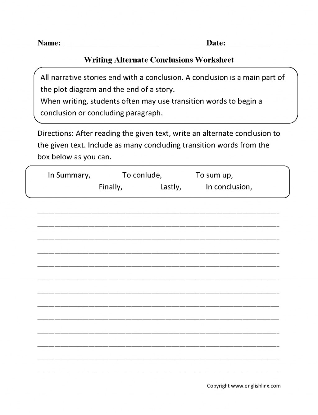 027 Englishlinx Writing Conclusions Worksheets Pertaining To Conclusion Paragraph Examples 5th Grade Research Impressive High School 4th A Large